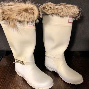 Hunter for J Mendel Fur White Rain Snow Boots Shoe